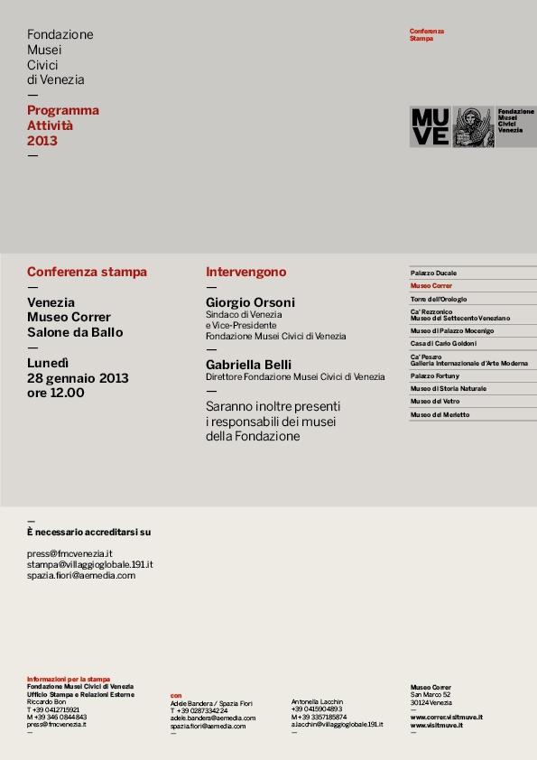 Musei civici di Venezia: programma attività 2013