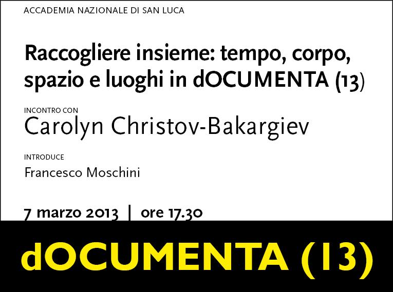 Incontro con Carolyn Christov-Bakargiev all'Accademia Nazionale di San Luca