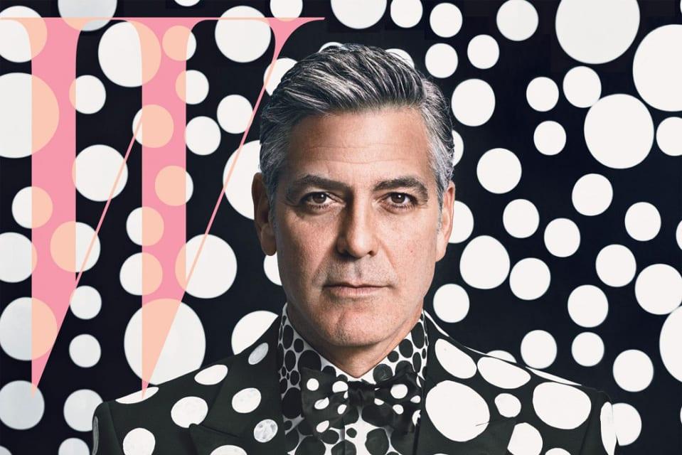 "George Clooney per ""W Magazine"" vestito da Yayoi Kusama"