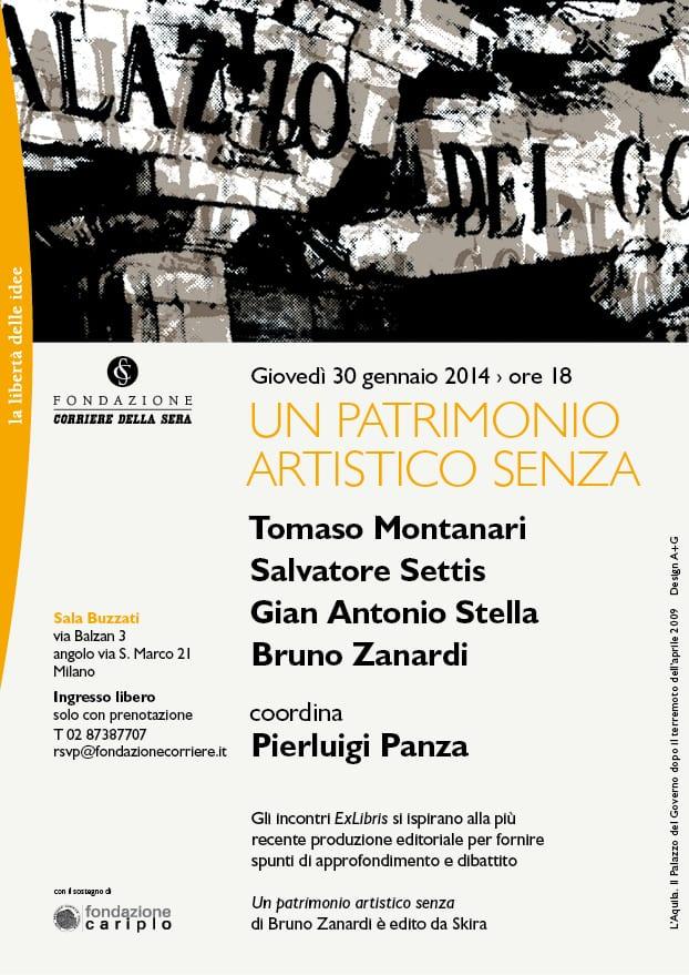 """MI 30/01-Presentazione libro """"Un patrimonio artistico senza"""" di Zanardi"""
