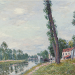 LOT 10 PROPERTY FROM THE COLLECTION OF RALPH C. WILSON, JR. ALFRED SISLEY 1839 - 1899 LES BORDS DU LOING signed Sisley (lower right) oil on canvas 46.7 by 56cm. 18 3/8 by 22in. Painted circa 1892. Estimate 1,000,000 — 1,500,000 GBP Price realized: