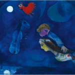 LOT 22 PROPERTY FROM A PRIVATE AMERICAN COLLECTION MARC CHAGALL 1887 - 1985 COQ ROUGE DANS LA NUIT signed Chagall (lower left) oil on canvas 68.6 by 79.4cm. 27 by 31 1/4 in. Painted in 1944. Estimate 1,000,000 — 1,500,000 GBP Price realized: