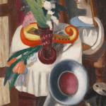 LOT 27 PROPERTY FROM THE ESTATE OF JAN KRUGIER MAX BECKMANN 1884 - 1950 STILLEBEN MIT GRAMMOPHON UND SCHWERTLILIEN (STILL-LIFE WITH GRAMOPHONE AND IRISES) signed Beckmann and dated F24 (lower left) oil on canvas 114.5 by 55.5cm. 45 by 21 7/8 in. Painted in Frankfurt in 1924. Estimate 1,800,000 — 2,500,000 GBP Price realized: