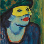 LOT 31 PROPERTY FROM A PRIVATE EUROPEAN COLLECTION MAX PECHSTEIN 1881 - 1955 DIE GELBE MASKE I (THE YELLOW MASK I) – RECTO SÄNGERIN IN ROT (SINGER IN RED) – VERSO oil on canvas 46.5 by 38cm. 18 1/2 by 15in. Painted in 1910. Estimate 1,800,000 — 2,500,000 GBP Price realized: