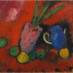 LOT 32 PROPERTY FROM THE ESTATE OF JAN KRUGIER ALEXEJ VON JAWLENSKY 1864-1941 STILLEBEN MIT HYAZINTHE, BLAUEM KRUG UND ÄPFELN (STILL-LIFE WITH HYACINTHS, BLUE JUG AND APPLES) oil on board laid down on board 49.5 by 52.2cm. 19 1/2 by 20 1/2 in. Painted circa 1912. Estimate 200,000 — 300,000 GBP Price realized: