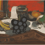 LOT 37 GEORGES BRAQUE 1882 - 1963 LES FRUITS SUR LA TABLE signed G. Braque (lower right) oil and sand on canvas 37.5 by 92.5cm. 14 3/4 by 36 3/8 in. Painted in 1941. Estimate 1,000,000 — 1,500,000 GBP Price realized:
