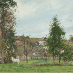 LOT 40 PROPERTY FROM A DISTINGUISHED PRIVATE COLLECTION CAMILLE PISSARRO 1831 - 1903 CHEVAL BLANC DANS UN PRÉ, L'HERMITAGE, PONTOISE signed C. Pissarro and dated 1872 (lower left) oil on canvas 46.5 by 55cm. 18 1/4 by 21 5/8 in. Painted in 1872. Estimate 600,000 — 800,000 GBP Price realized: