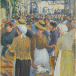 LOT 43 CAMILLE PISSARRO 1831 - 1903 MARCHÉ À LA VOLAILLE À GISORS signed C.P. and stamped C.P. (lower right) gouache and pastel on linen 46 by 38.5cm. 18 1/8 by 15 1/4 in. Executed circa 1890. Estimate 400,000 — 600,000 GBP Price realized: