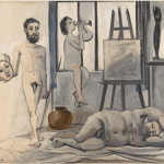 LOT 6 PROPERTY FROM THE ESTATE OF JAN KRUGIER PABLO PICASSO 1881 - 1973 NUS MASCULINS (LES TROIS ÂGES DE L'HOMME) signed Picasso (lower left) oil on panel 53.8 by 64.8cm. 21 1/4 by 25 1/2 in. Painted in November 1942. Estimate 500,000 — 700,000 GBP Price realized:
