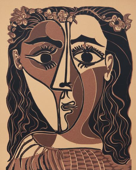 Pablo Picasso, Piccola testa di donna coronata di fiori, 20.2.1962, linografia