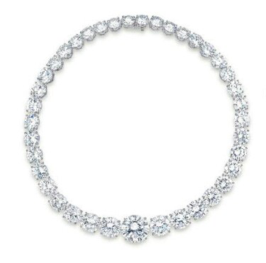 diamond rivière by Adler which weighs 144.64 carats in total
