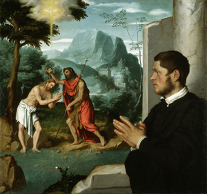 GIOVANNI BATTISTA MORONI A GENTLEMAN IN ADORATION BEFORE THE BAPTISM OF CHRIST