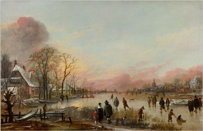 Aert van der Neer, Frozen River at Sunset