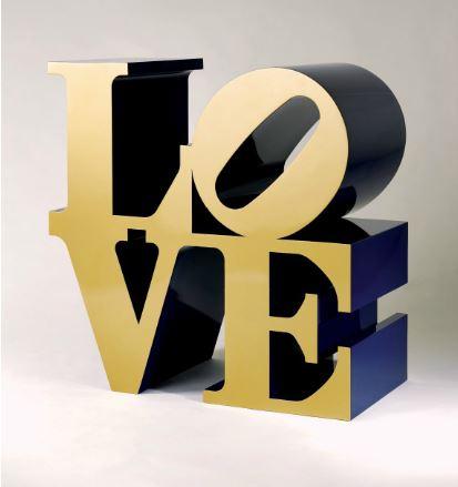 ROBERT INDIANA (B. 1928), LOVE (GOLD/BLUE)