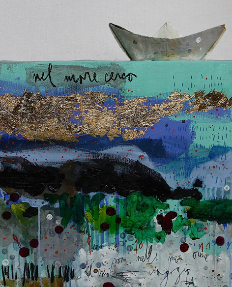 Margherita Martinelli, Nel mare cerco - 2014 mixed media on canvas - 40x40