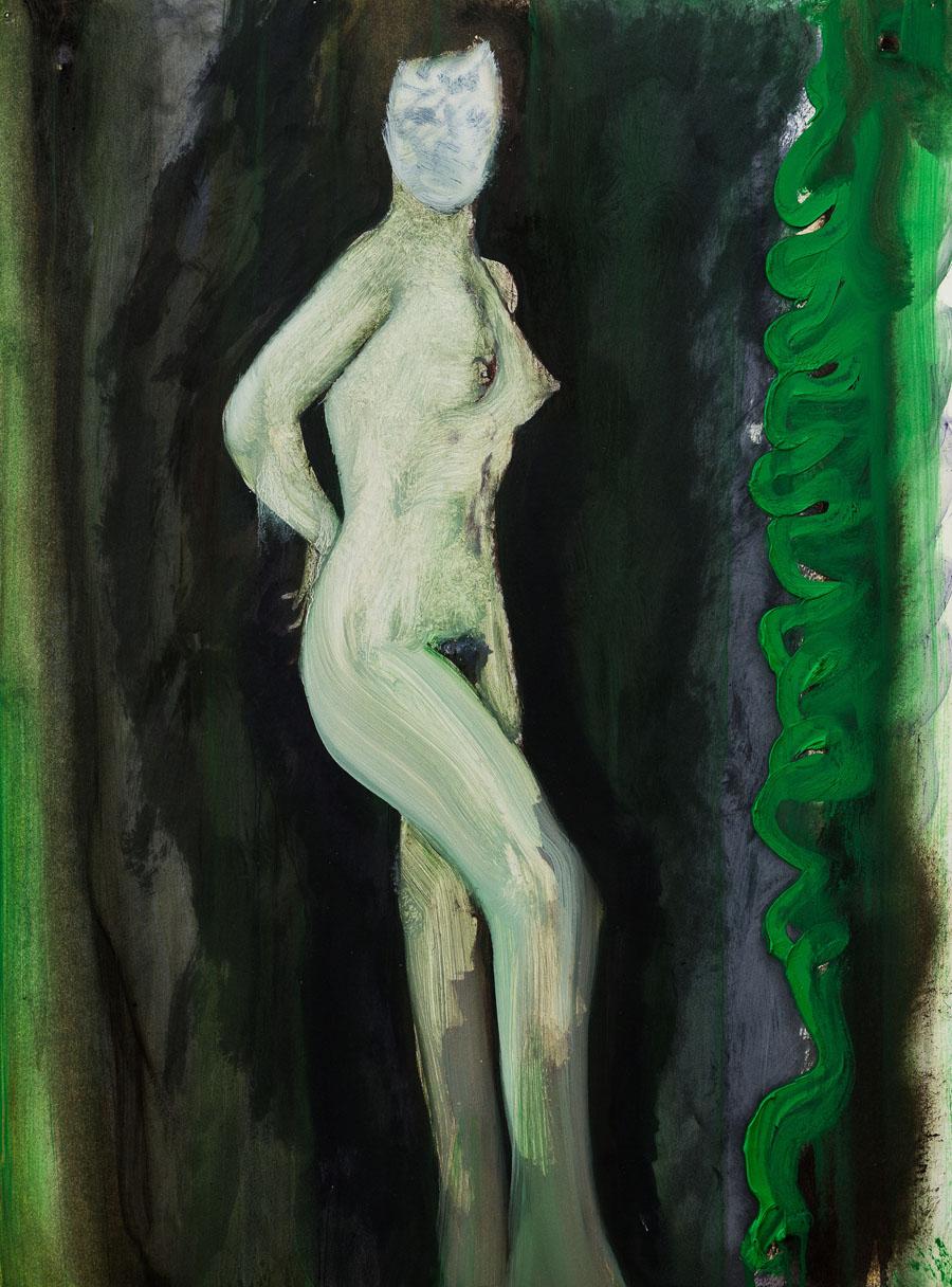 """Peter Doig, """"Untitled"""", 2014- Olio su carta, montato su tela, 59.5 x 42 cm"""