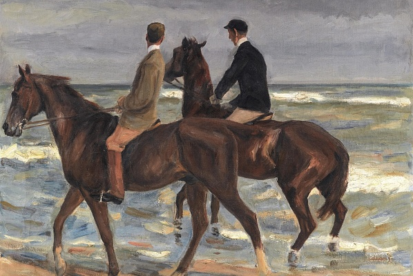 Max Liebermann's Zwei Reiter am Strand nach Links (two riders on the beach to the left, 1901)