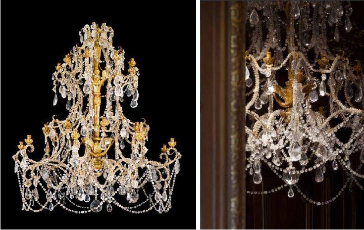 Paire de lustres, travail gênois d'époque Rococo, bois sculpté et doré, vers 1750 (estimation : 300 000 – 500 000 € / 350 000 – 570 000 $)