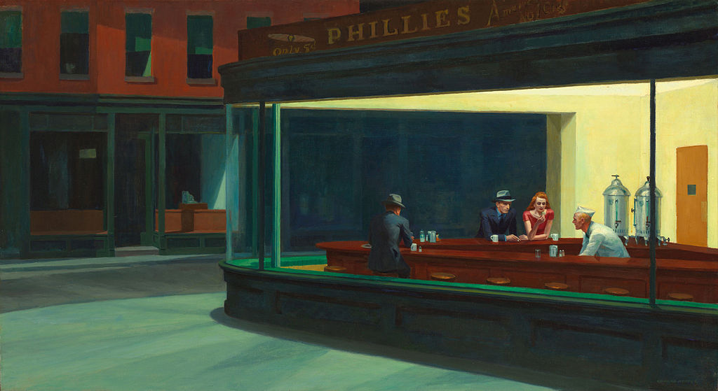 Edward Hopper, Nighthawks, 1942. olio su tela, 84,1×152,4 cm. Art Institute of Chicago, Chicago