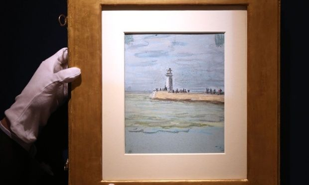 Le Havre, la jetee, by Claude Monet. The previously unknown pastel was discovered taped to another work by the artist bought at auction. Photograph: Philip Toscano/PA