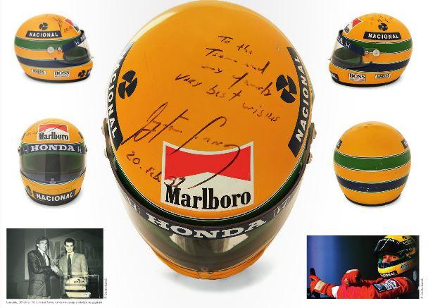 EXCEPTIONNEL CASQUE-PROTOTYPE DAYRTON SENNA Dédicacé, signé et daté. Saison 1990. Champion du monde des pilotes - champion du mond.