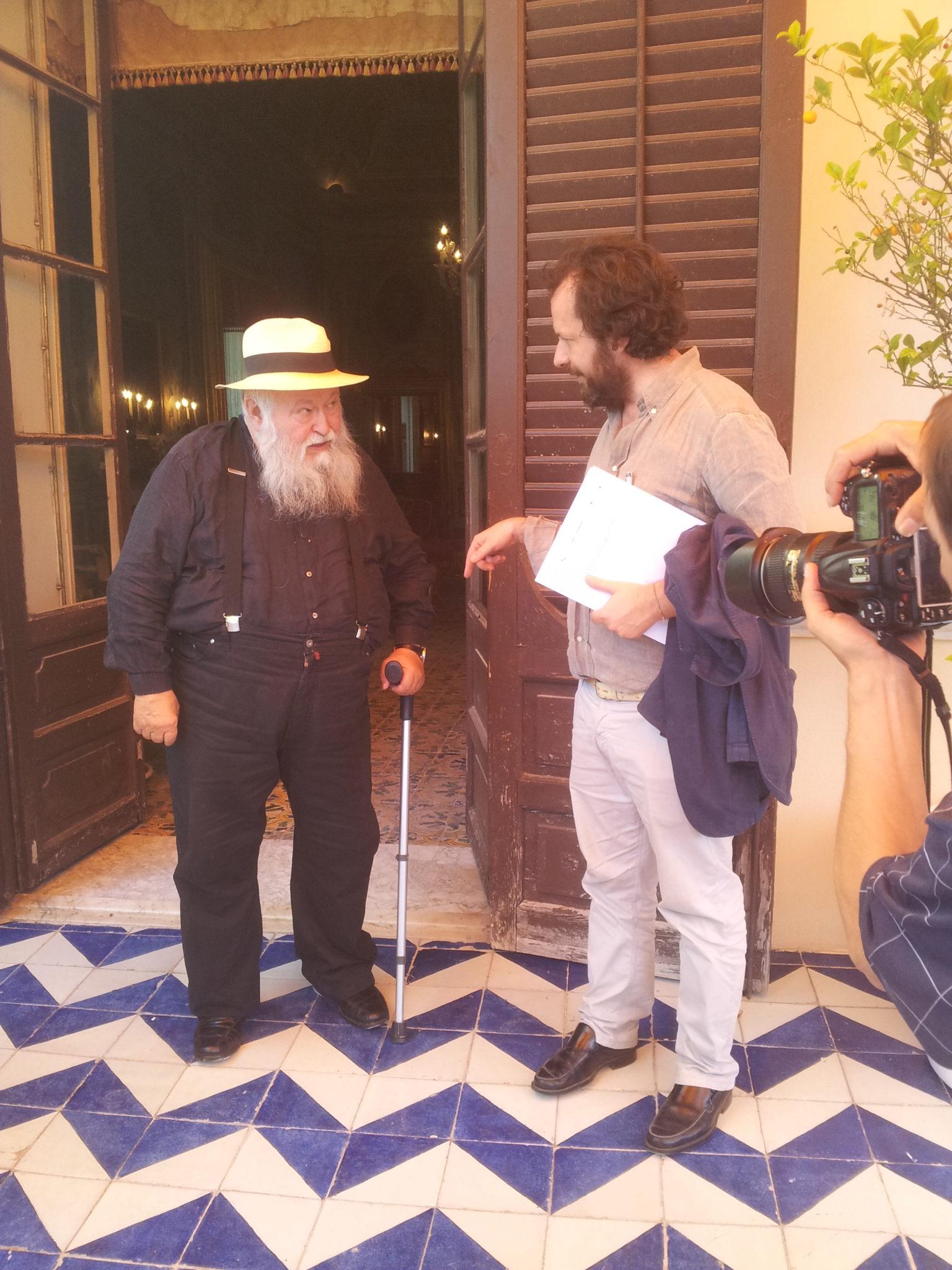 Hermann Nitsch è arrivato a Palermo per l'inaugurazione della mostra delle polemiche