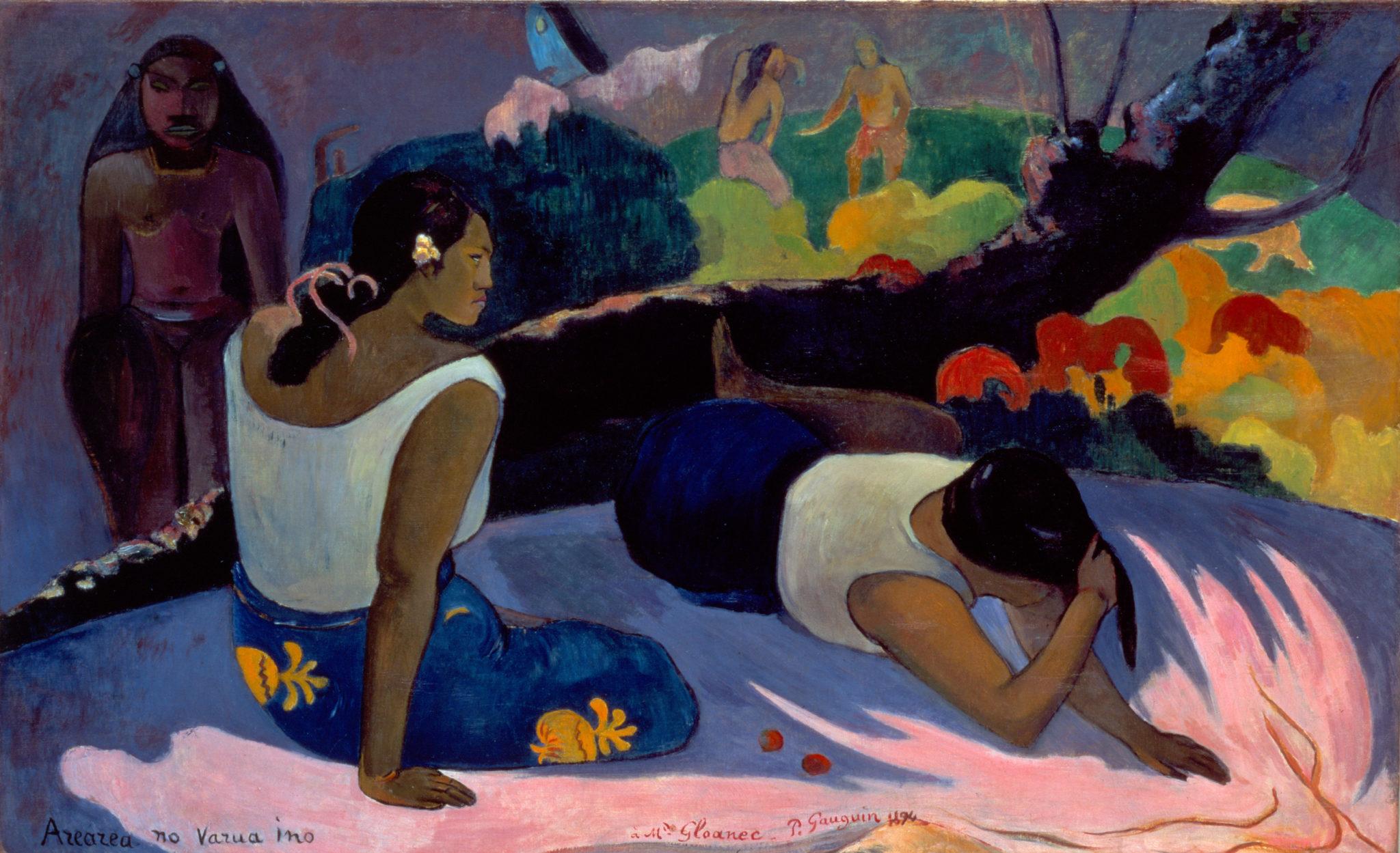 "Paul Gauguin, ""Arearea no Varua ino (Words of the Devil, or Reclining Tahitian Women),"" 1894"