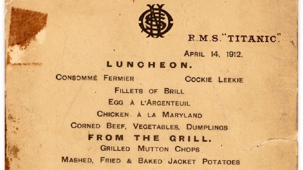 Il Menu dell'ultimo pranzo sul Titanic