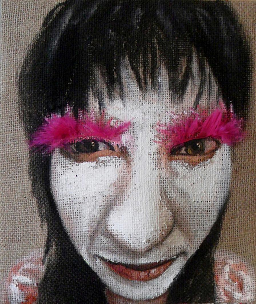 Stasera festa! acrilico e piume su juta estroflessa, 30x25x9 cm, 2014