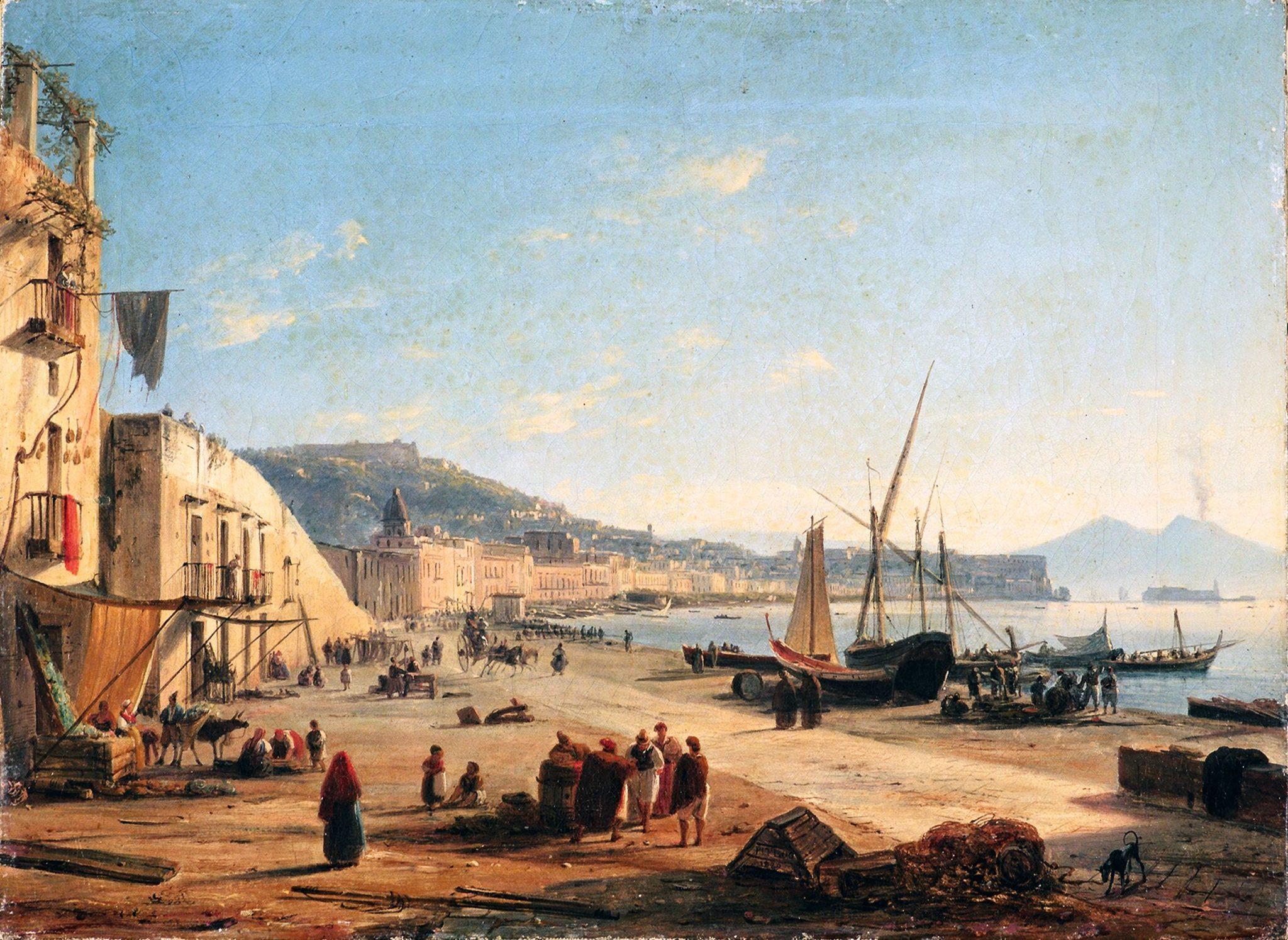 Anton Sminck van Pitloo, Napoli dalla spiaggia di Mergellina, 1829, olio su tela, cm 48x35