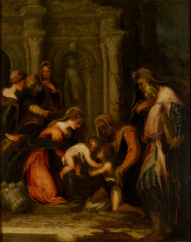 Andrea Meldola, detto Schiavone, Vergine e Bambino, San Giovannino e Santi Zaccaria, Elisabetta, Giuseppe, Caterina e una santa, Lent from the Gover