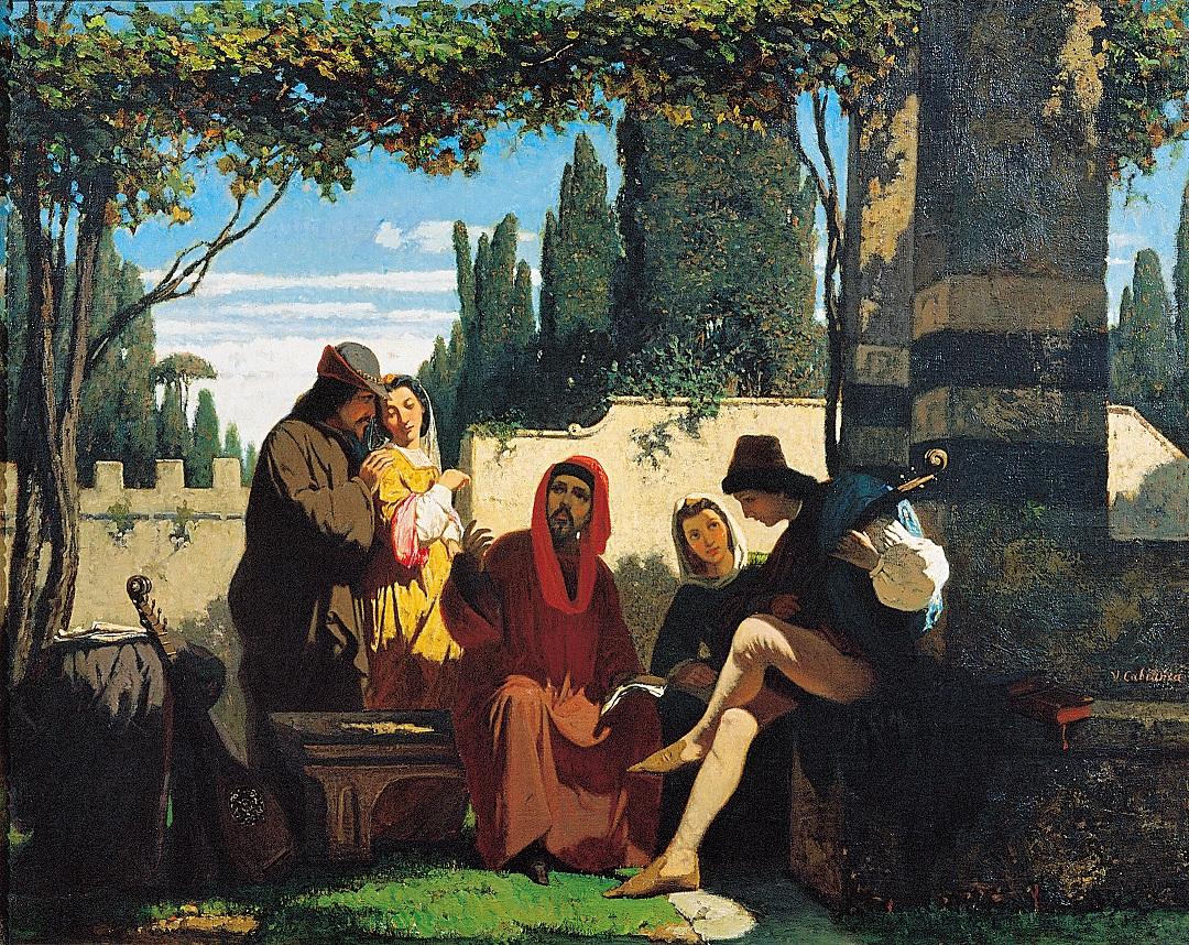 Vincenzo Cabianca (Verona, 1827 – Roma, 1902) I novellieri fiorentini del XIV Secolo 1860 olio su tela Firenze, Palazzo Pitti, Galleria d'arte moderna