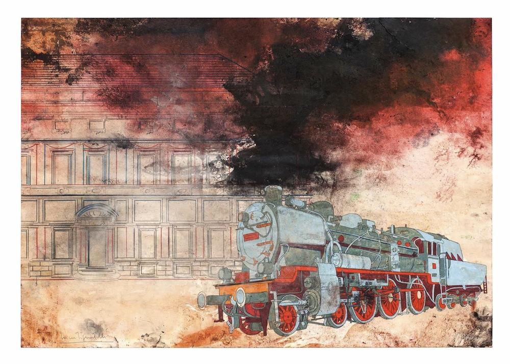 Luca Pignatelli, Treno 1948, 2012, cm 66,6 x 99,4, Tecnica mista su carta