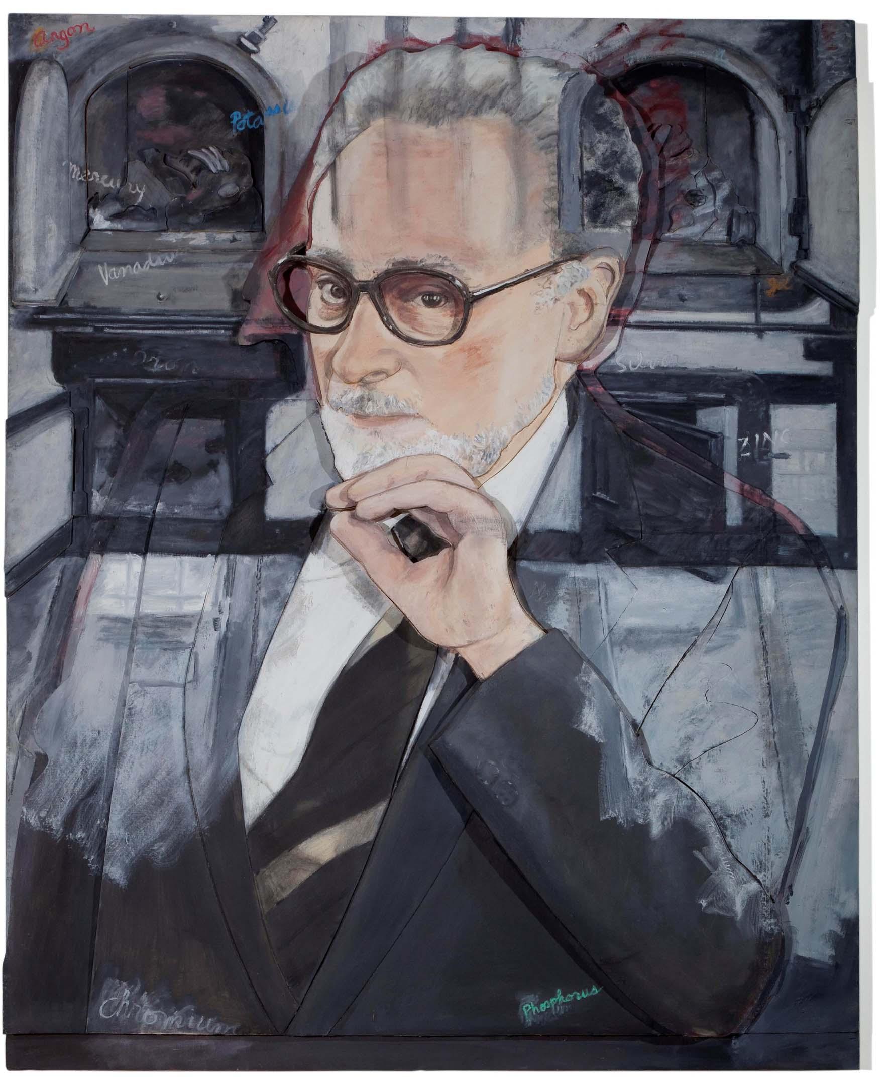 Larry Rivers Periodic Table 1987 cm. 186 h x 146 x 15 olio su tela montato su poliuretano espanso modellato In deposito presso la Pinacoteca Giovanni e Marella Agnelli di Torino