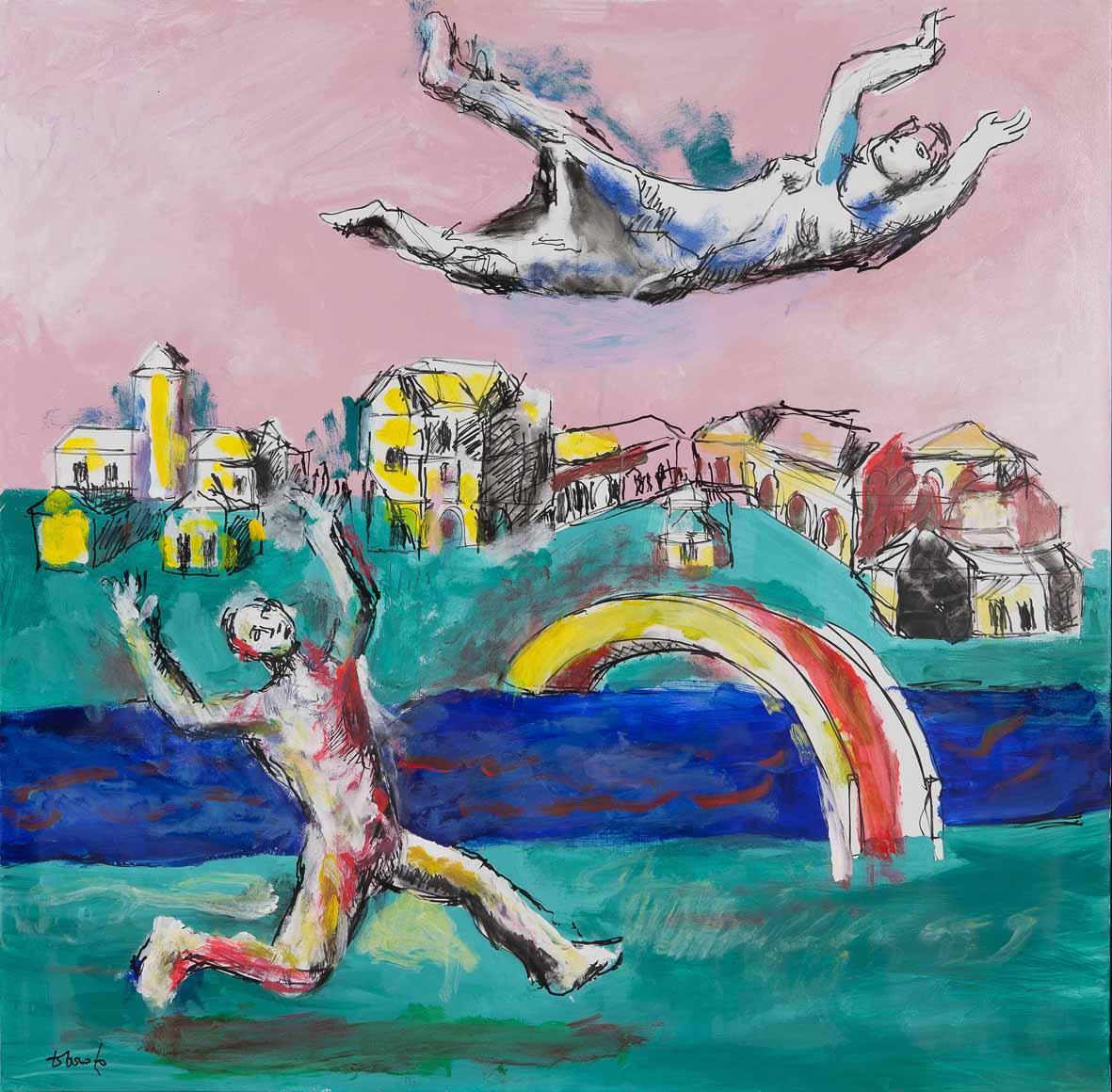 Dario Fo: Un colpo di vento e Bella raggiunge il cielo, 2015. Tecnica mista su tela, 100x100cm. Archivio Franca Rame e Dario Fo