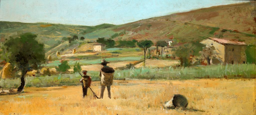 Silvestro_Lega_Paesaggio_con_contadini_olio_su_tavola