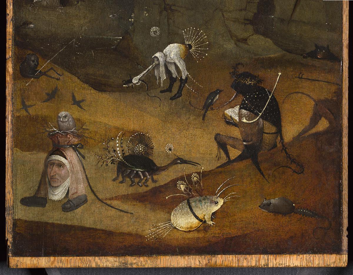 Dettaglio creature, pannello sinistro del Trittico degli Eremiti - Bosch