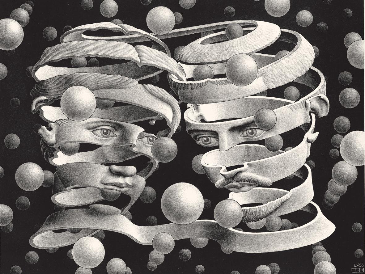 Escher, Vincolo d'uninione - 1956 litografia 253x339-mm