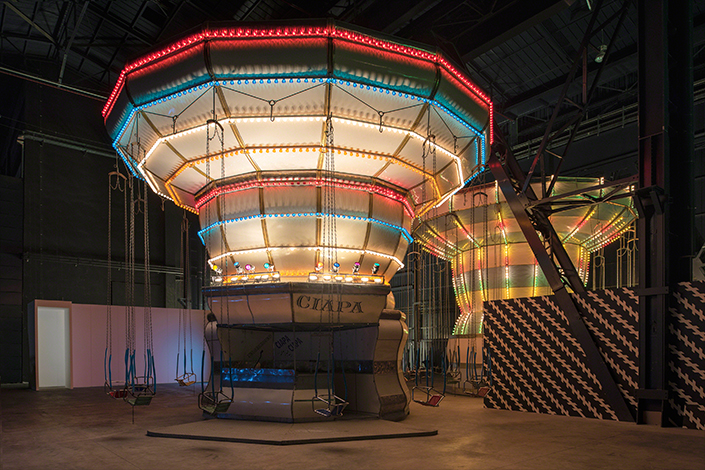 "Veduta dell'installazione ""Double Carousel with Zöllner Stripes"", Enel Contemporanea Award 2011 - Carsten Höller"