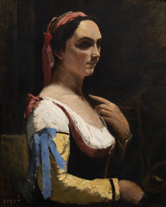 ''La donna italiana'' o ''La donna con manica gialla'' di Jean-Baptiste Camille Corot, 1870
