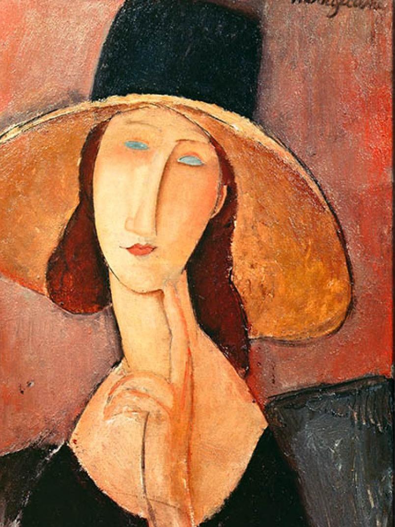 AMEDEO MODIGLIANI Jeanne Hébuterne con grande cappello, 1918 Olio su tela Giappone, collezione privata