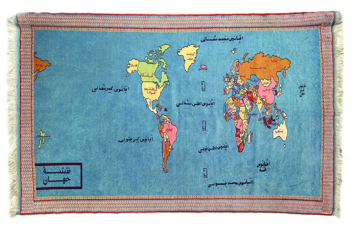 Planisfero con bandiere, tappeto annodato a mano, area di produzione Afghanistan
