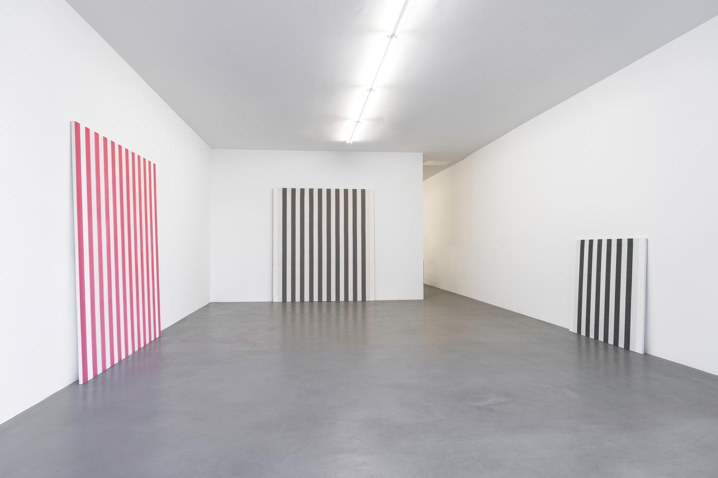 Installation view Daniel Buren - Peintures 1966-1969, Travaux Situés 2016, Buchmann Box