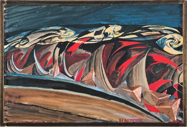 Luces + ruidos de un tren nocturno (ca 1924), (exhibido en la Conferencia de Palermo en junio de 1927), óleo sobre lienzo, Colección Luce Marinetti, Roma