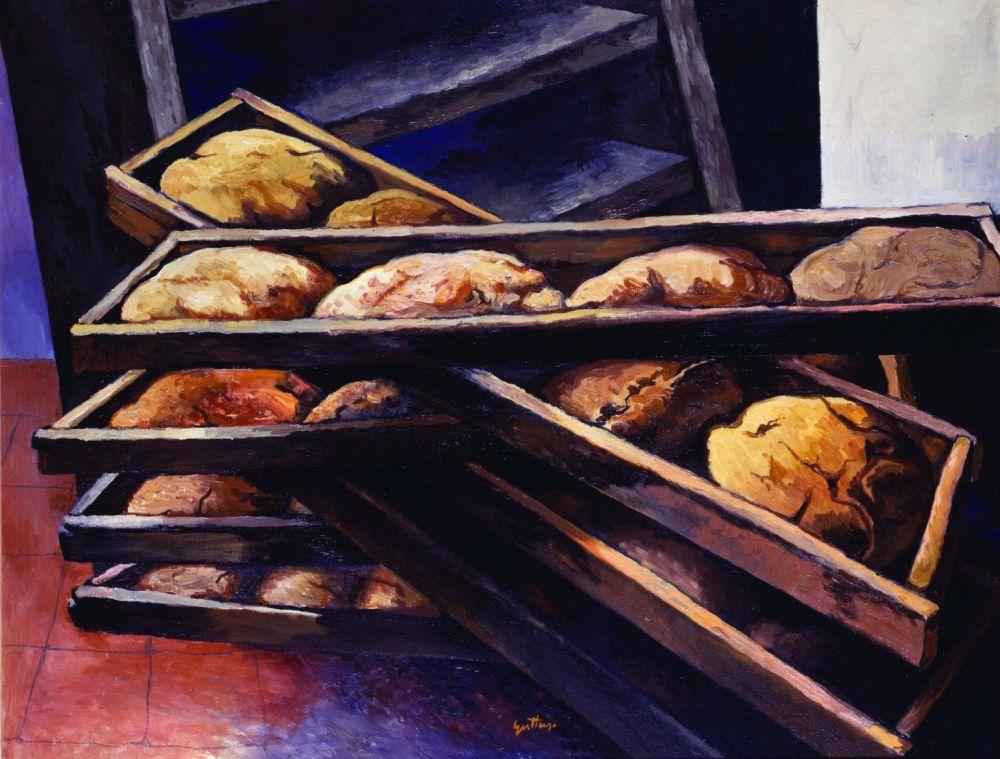 Renato Guttuso Il pane 1978 Olio su tela Collezione privata