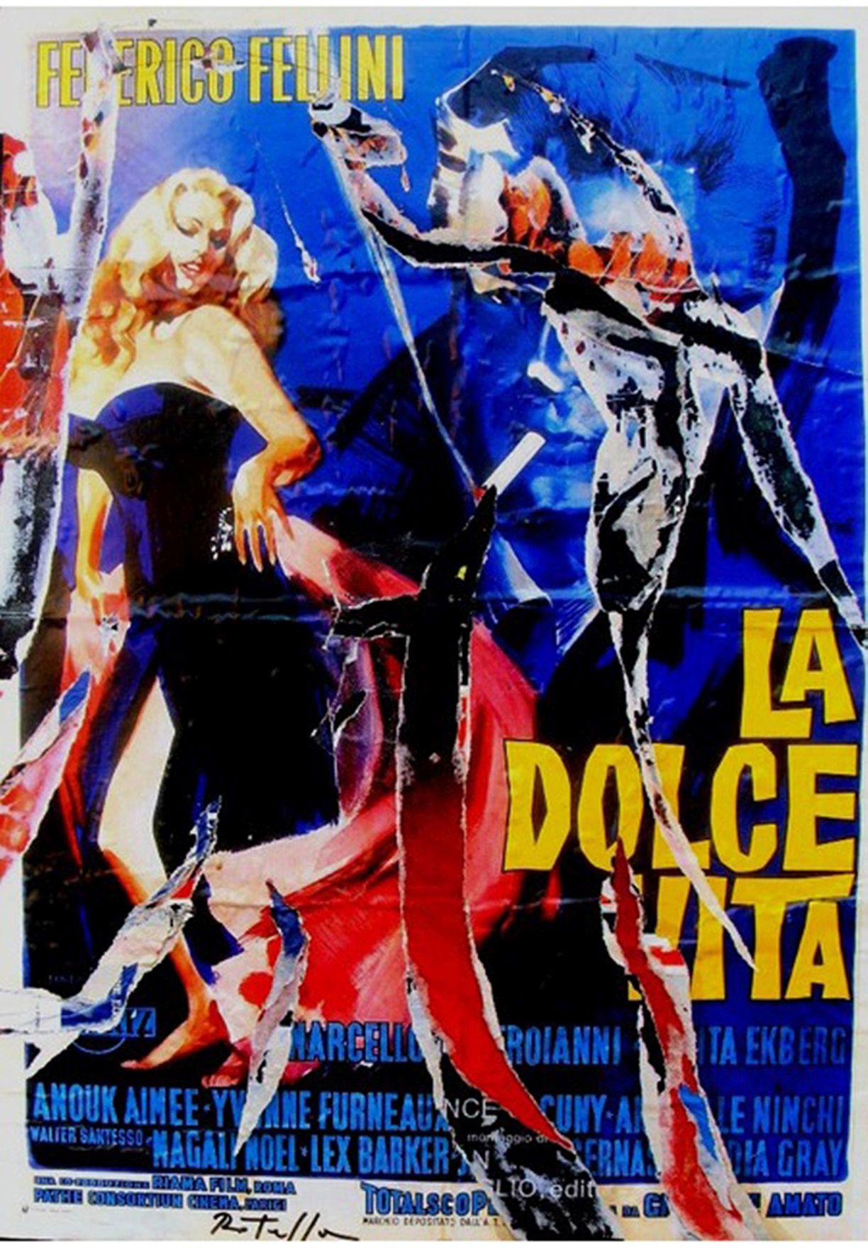 Mimmo Rotella, La Dolce Vita, 1990, decollage, 95x67 cm
