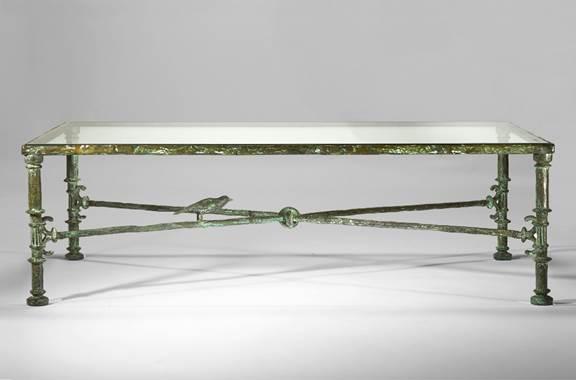 Diego Giacometti, Tavolo greco, bronzo con patina verde,