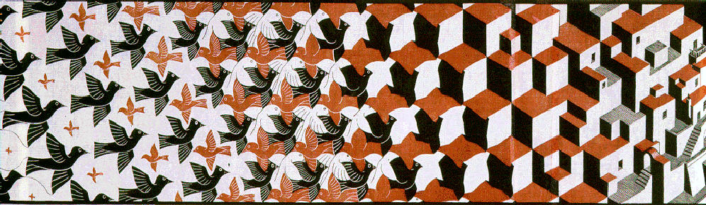 Escher, Metamorphosis (1939-1940)