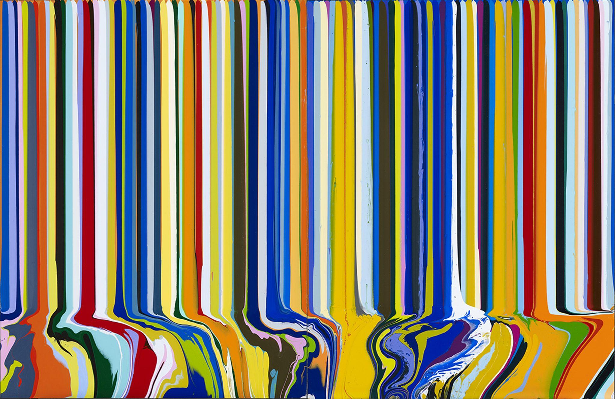 IAN DAVENPORT COLOURCADE : ORANGE & BLUE, 2015 ACRYLIC ON ALUMINIUM MOUNTED ON TWO ALUMINIUM PANELS 103X158 CM COURTESY GALLERIA TEGA,MILANO PHOTO: GALLERIA TEGA , MILANO