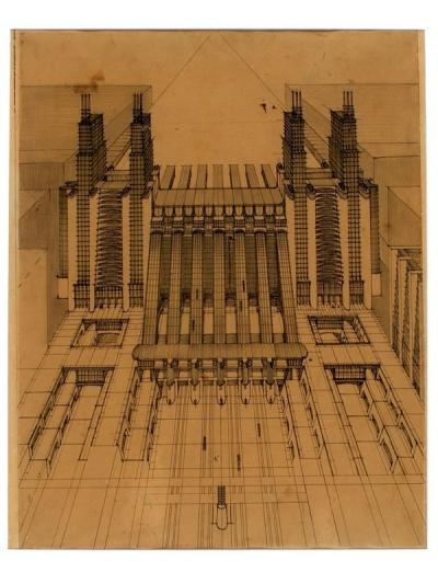 Sant Elica Stazione aeroplani e treni ferroviari 1914 La Triennale di Milano